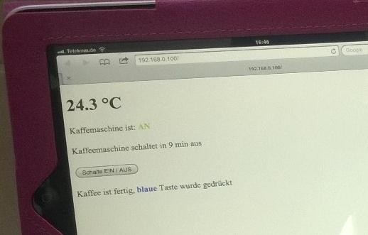 Webansicht IoT Kaffeemaschine