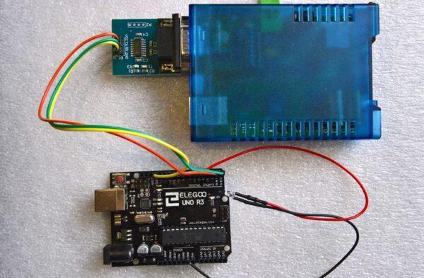 hier die PureBox verbunden mit einem Arduino UNO R3 via seriell