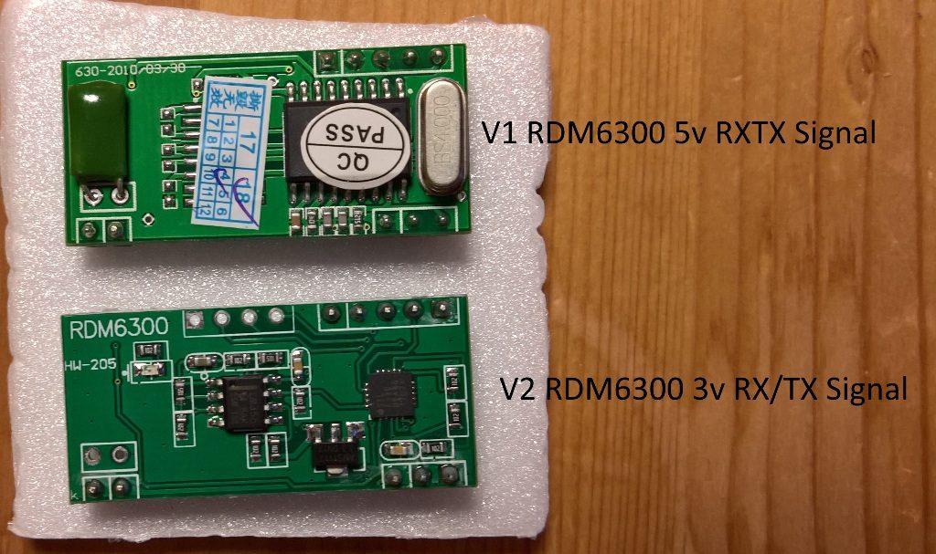 RDM6300 V1 u V2 für die Zeiterfassung